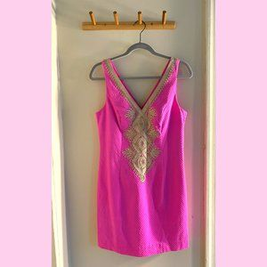 Lilly Pulitzer Hot Pink Embroidered Dress – Size 4